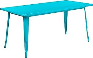 "Flash Furniture Commercial Grade 31.5"" x 63"" Rectangular Crystal Teal-Blue Metal Indoor-Outdoor Table"