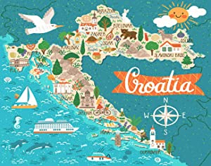 Ghjxda 5D Diy Diamond Painting Kits Country Painting Arts Craft Stylized Map Croatia Travel Croatian Landmarks People Food Plants Painting by Numbers for Adults Canvas Full Drill 16x20 Inch