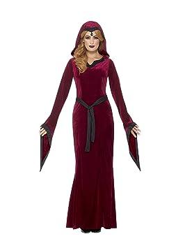 SmiffyS 45115X1 Disfraz De Vampiresa Medieval, Burdeos Con Vestido Con Capucha Y Cinturón, Rojo