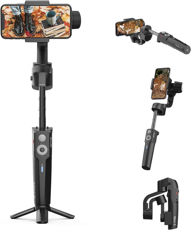 Moza Mini-S con Poste de extensión estabilizador de cardán para teléfono Inteligente Cardán Plegable de 3 Ejes