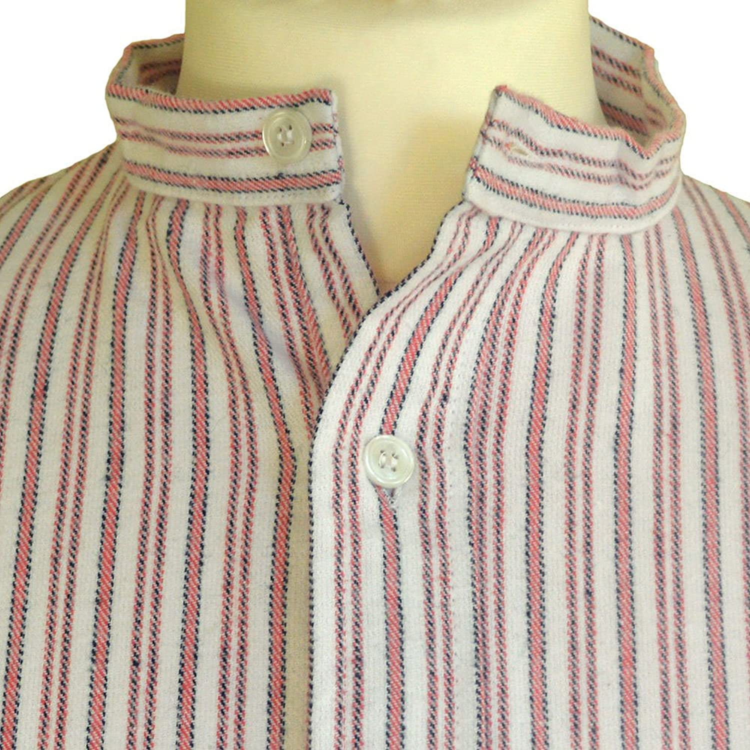 Brushed Cotton Nightshirt, Red with Narrow White Stripe, by Magee of Donegal