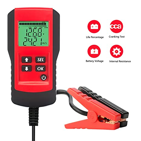 SUNER POWER Digital 12V Car Battery Tester Automotive Battery Load Tester  and Analyzer of Battery Life Percentage,Voltage, Resistance and CCA Value