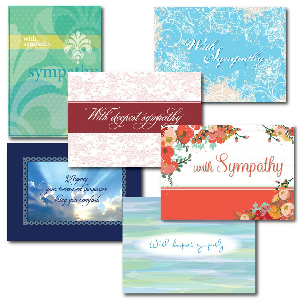 6-Design Sympathy Greeting Card Assortment. A 30-Card Box Set of Different Designs and Verses to Express Condolences to Family and Friends