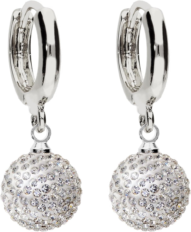 Mya art MYASIOHR-41 - Pendientes, plata de ley 925 con perlas con cristales engarzados, color blanco