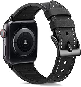 XinywTech Compatible with Apple Watch Band 44mm 42mm,Genuine Leather and TPU Hybrid Sweatproof Replacement Band Strap Compatible iWatch Series 4 44mm Series 3/2/1 42mm Sport and Edition (Black)