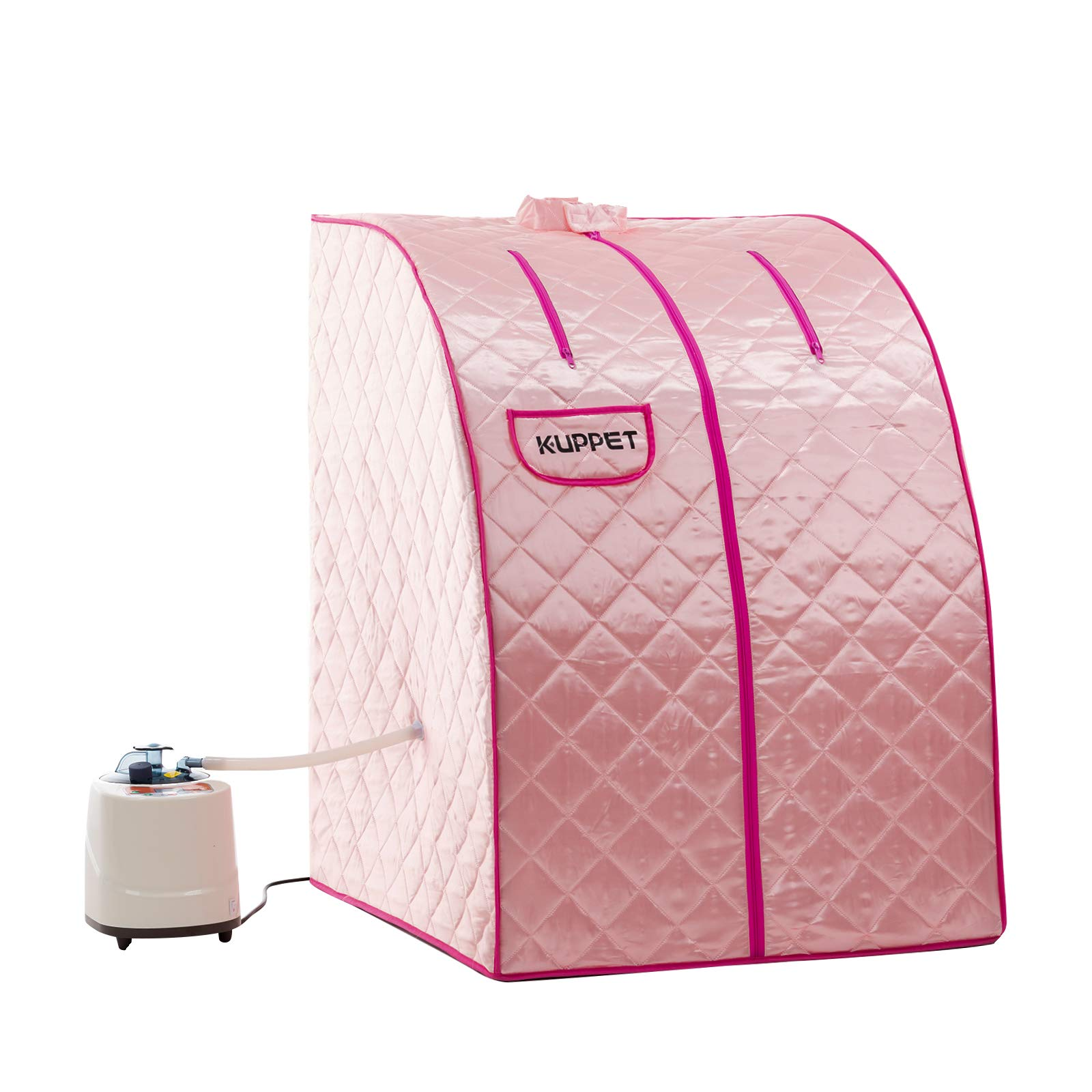KUPPET Portable Folding Steam Sauna-2L One Person Home Sauna Spa for Full Body Slimming Loss Weight w/Chair, Remote Control, Steam Pot, Foot Rest, Mat (Pink) by KUPPET