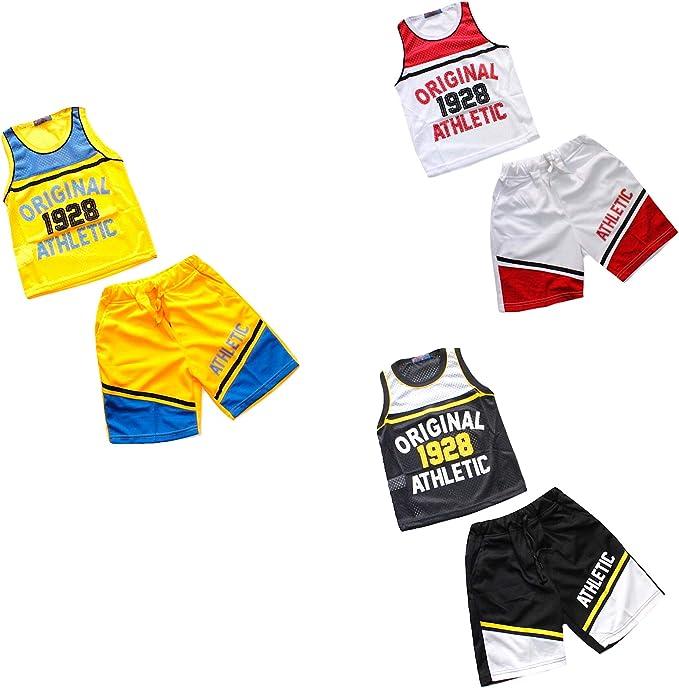 Olvjeans Completo Bambino Basket Canotta Forato Pantaloncino Hip Hop 6 8 10 12 14 16 Anni HM6833 14 Anni, Giallo//Blu