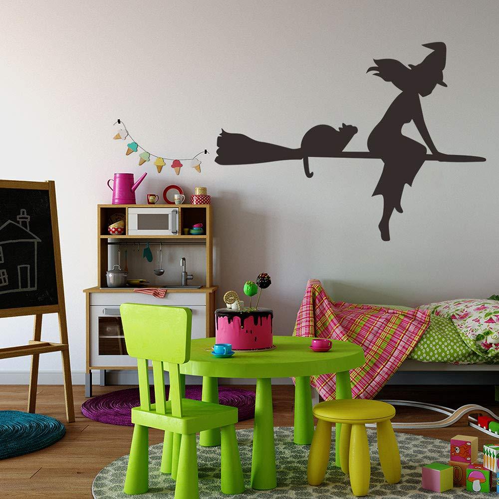 Halloween Wall Decal Sticker Ankola Witch Flying with Cat Halloween Wall Decal Sticker Art Décor (22.8'' X16.9'', Black) by Ankola (Image #2)