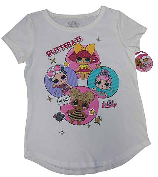 01f30c884f21 Amazon.com: MGA Girls L.O.L. Surprise! Short Sleeve Glitterati T-Shirt  (Multicolor, XL 14/16): Clothing