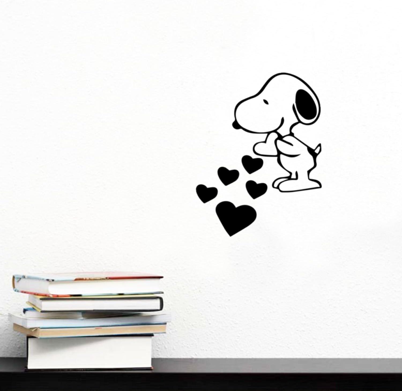 altany-zadaszenia.pl Snoopy Love Hearts Cartoon Wall Art Decal ...