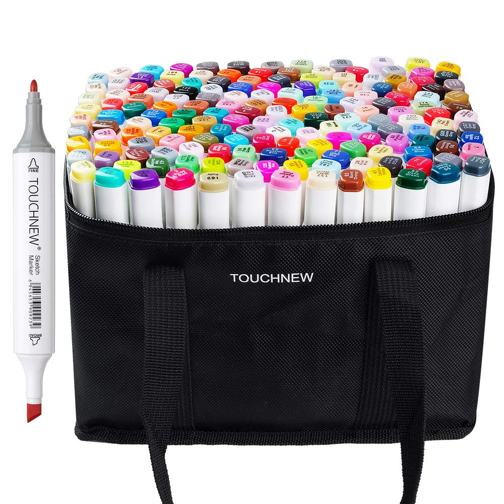 168 Set Color TOUCHNEW Graphic Drawing Painting Alcohol Art Dual Tip Sketch Pen Twin Marker Design Coloring Highlighting Underlining Set with Carry Bag Lightwish