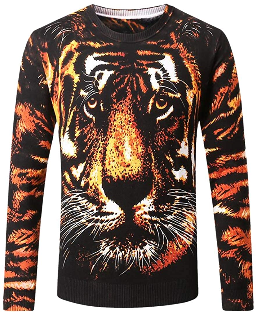 Jofemuho Men Warm Winter Tiger Knitted 3D Print Long Sleeve Floral Crew Neck Pullover Sweater