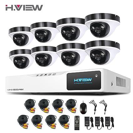 H.View 1080P sistema de videovigilancia Kit de 8CH Cámaras de Vigilancia Seguridad, 1920
