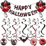 Halloween Deckenhänger,2 Stk Happy Halloween Banner 16 Stk Luftballons Latexballons 18 Stk Hängen Dekoration,für Halloween Cosplay Partei Dekoration