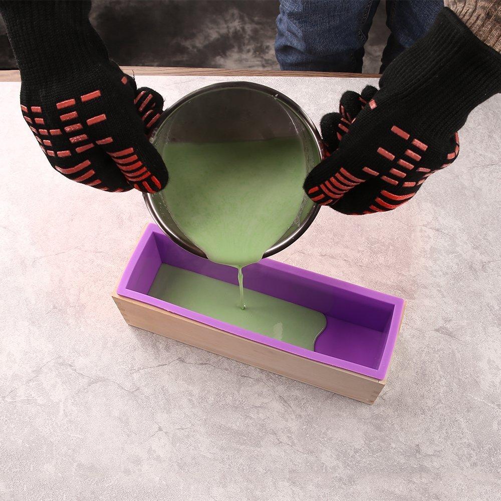 YunNasi Hecho a mano silicona jab/ón molde rectangular Molde Molde morado