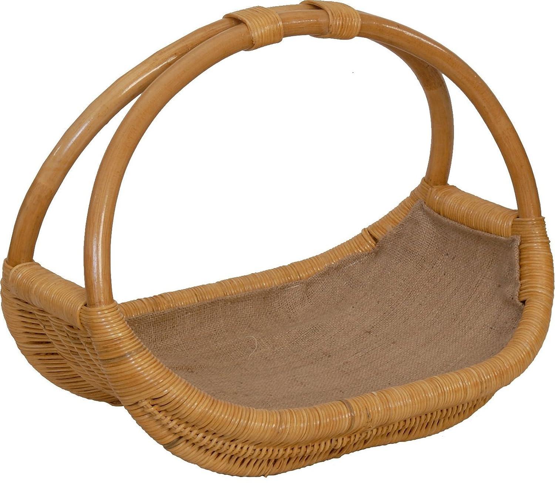 Praktischer Holzkorb aus aus aus echtem Rattan, Kaminkorb   Kaminholzkorb Natur mit Jute ausgeschlagen (Honig) 539b56