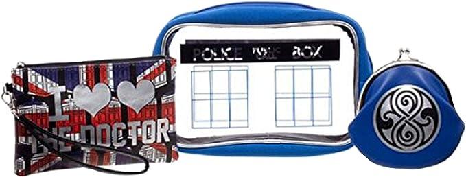 Doctor Who Juego de regalo para mujer y niña, estuche de maquillaje, pulsera y monedero: Amazon.es: Ropa y accesorios