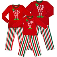 Red Elf Pyjamas Christmas Family PJs - Dad Elf Mum Elf & Little Elf