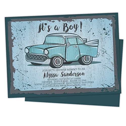 Amazon vintage car baby shower invitations retro boy blue handmade vintage car baby shower invitations retro boy blue filmwisefo