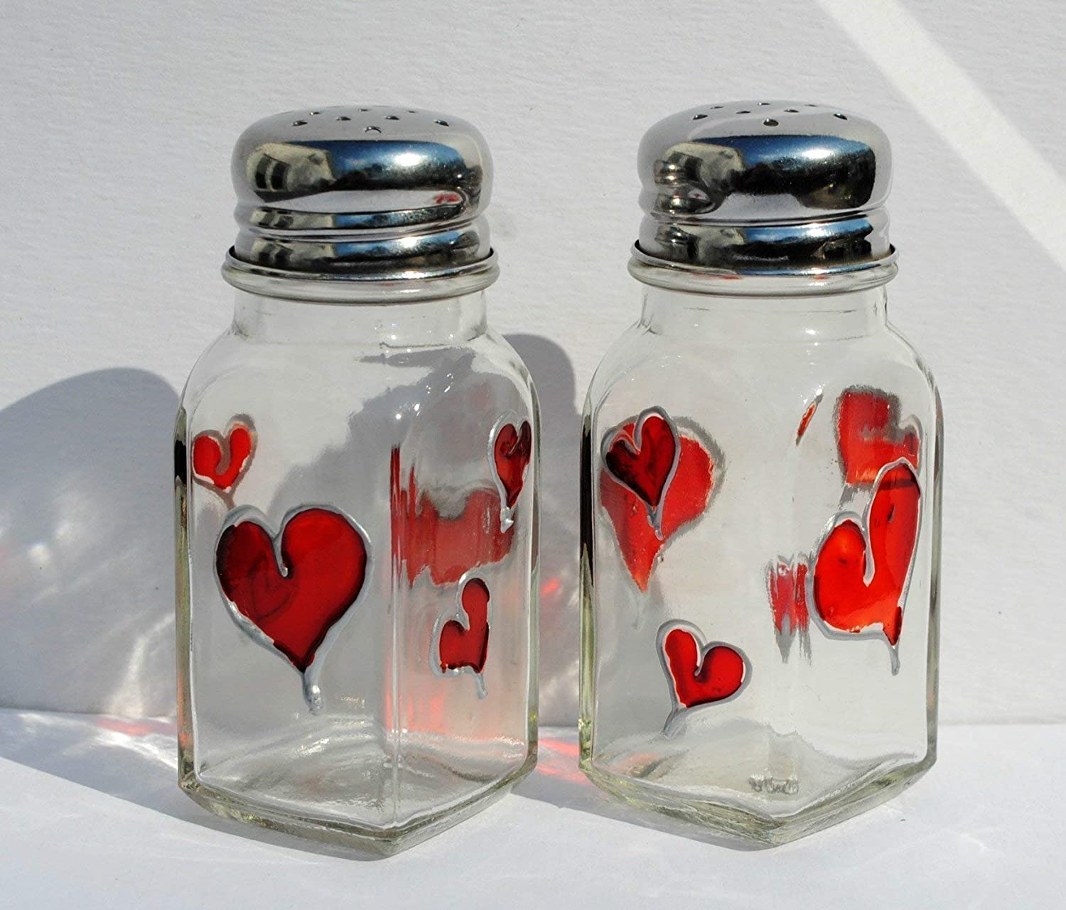 Red Hearts Hand Painted Glass Salt & Pepper Shakers Set, Kitchen Decor