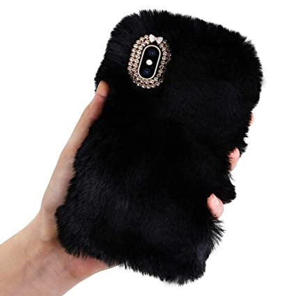 buy popular e7dc9 79f1c Aearl iPhone XR Case,iPhone XR Rabbit Fur Ball Case,Luxury Cute 3D Homemade  Diamond Winter Warm Soft Furry Fluffy Fuzzy Bunny Ear Plush Back Phone ...