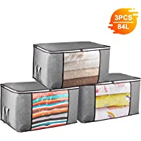 84L Large Clothes Storage Bags with Zips, 3 PCS Duvet Storage Bag King Size, Thick Breathable Fabric Underbed Storage Bags with Clear Windows, Clothing Storage Bags for Quilt, Bedding, Blankets