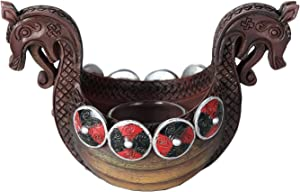Pacific Giftware Ancient Nordic Viking Longship Votive Candle Holder Viking Decor 6.75 Inches