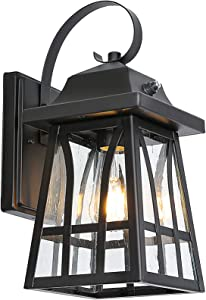 Outdoor Wall Lantern with Dusk to Dawn Sensor, Exterior Wall Sconce Porch Light Fixture with LED Bulb, Anti-Rust Waterproof Matte Black Wall Mount Lamp for Entryway, Garage, Front Door, ETL Listed