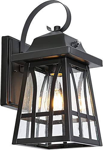 Dusk to Dawn Sensor Outdoor Wall Lanterns, Exterior Wall Sconce Porch Light Fixture with LED Bulbs, Anti-Rust Waterproof Matte Black Wall Mount Lamp for Entryway Garage, ETL Listed