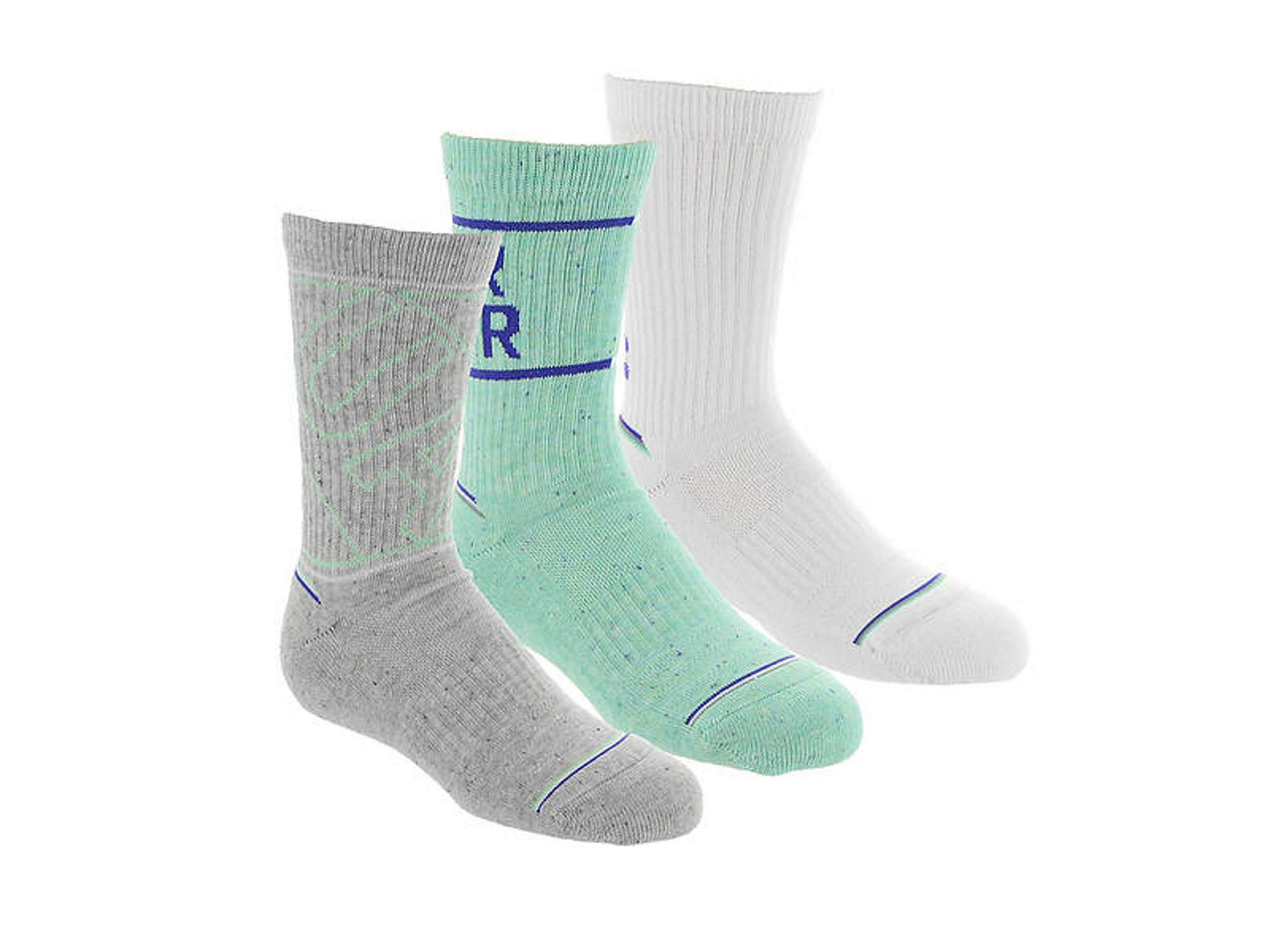 Under Armour Boy`s UA Phenom Crew Socks 3 Pack (Grey(1319928-961)/White, Youth Small (Youth Shoe Size 13.5K - 4Y)) by Under Armour