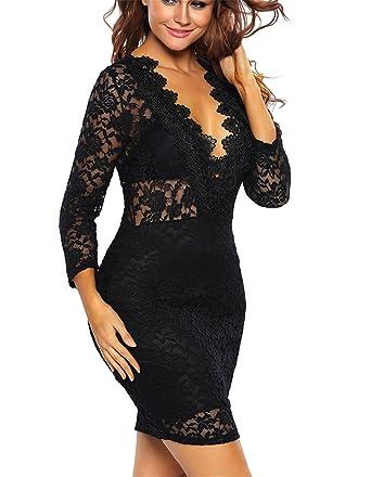 Chiffoned Mujeres Sexy Negro Encaje Mini Vestidos New Otoño Nueva Moda V Profundo Club nocturno Bodycon