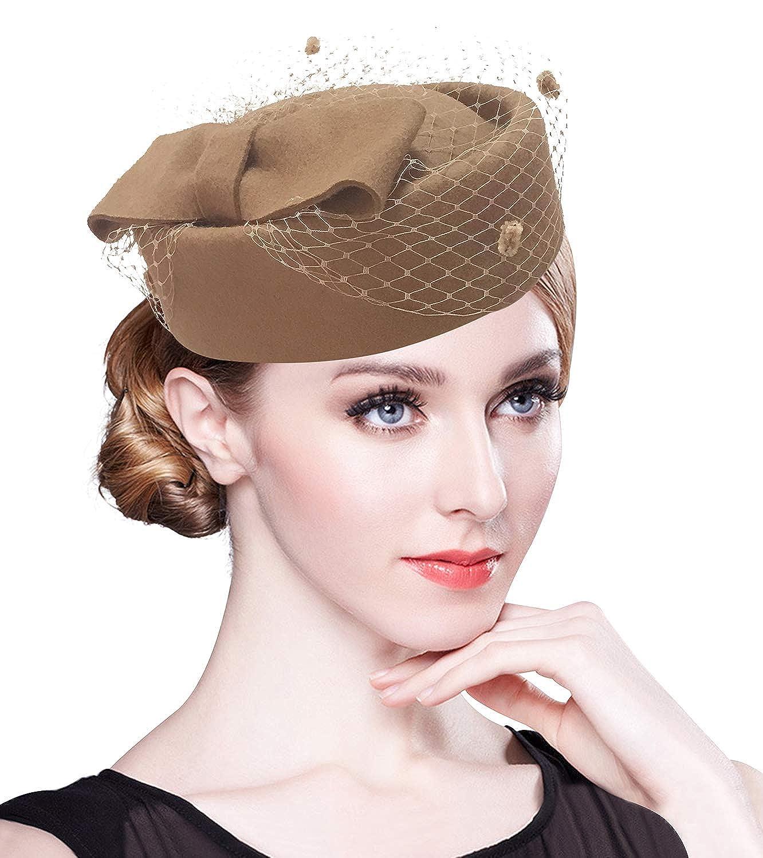 Z/&X British Vintage Wool Felt Pillbox Hat Ladies Church Derby Winter Fascinator Hat Veil Flower Fedoras