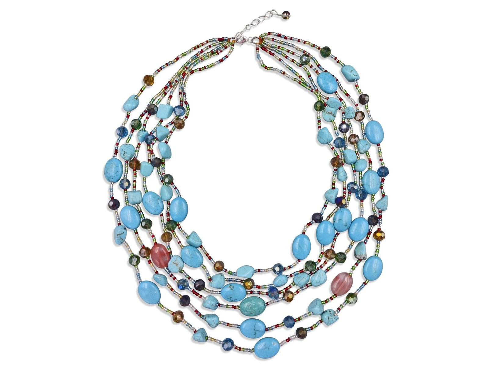 MGR Multiple 6-Strand Layered Beaded Blue Magnesite Turquoise Statement Style Necklace, 18''-24'' long