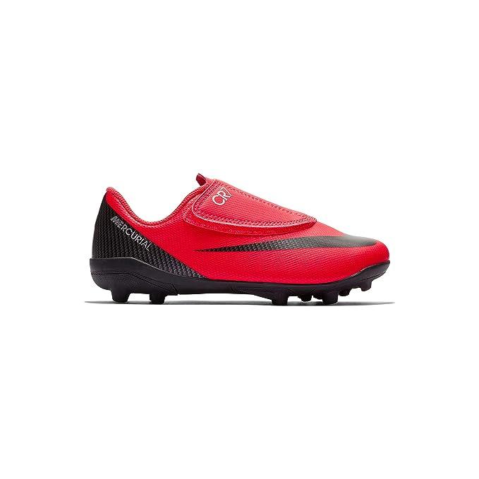 02e652410a3 Nike Botas de Futbol CR7 Mercurial Vapor 12 Club Suela MG con Velcro Roja  Niño  Amazon.es  Deportes y aire libre