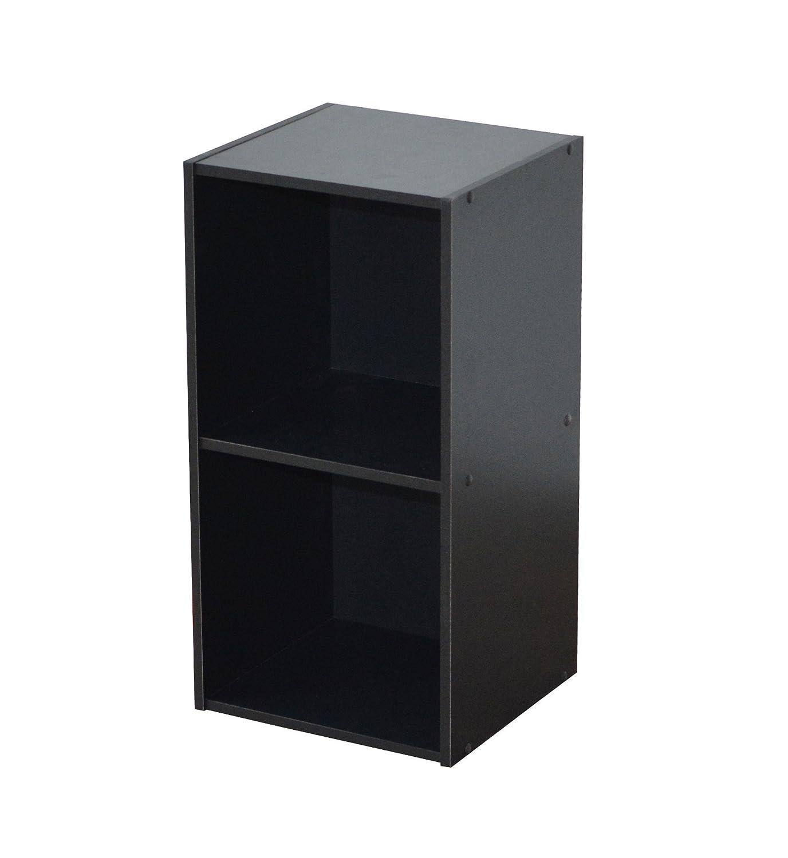 Compo ER Meuble de Rangement Colonne 2 Casiers Biblioth/èque Etag/ères Cubes Noir 31,5 x 29,5 x 61,5 cm