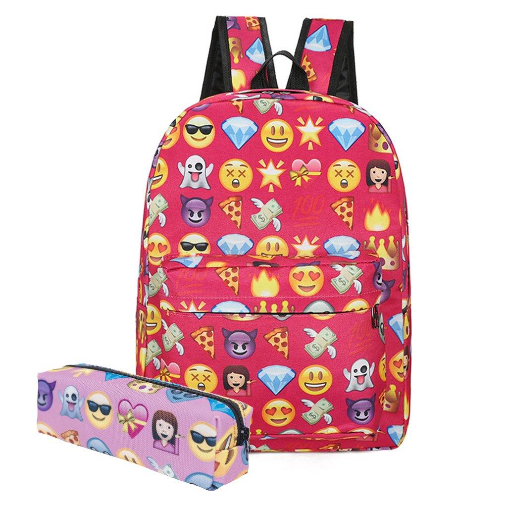 KooJooe Canvas Unisex Emoji Black School/Hiking/Travel/Camping/Laptop Backpack/Book bags/Day packs for Kids/Girls/Boys/Teenagers/Women(Free Pencil bag) (Red)
