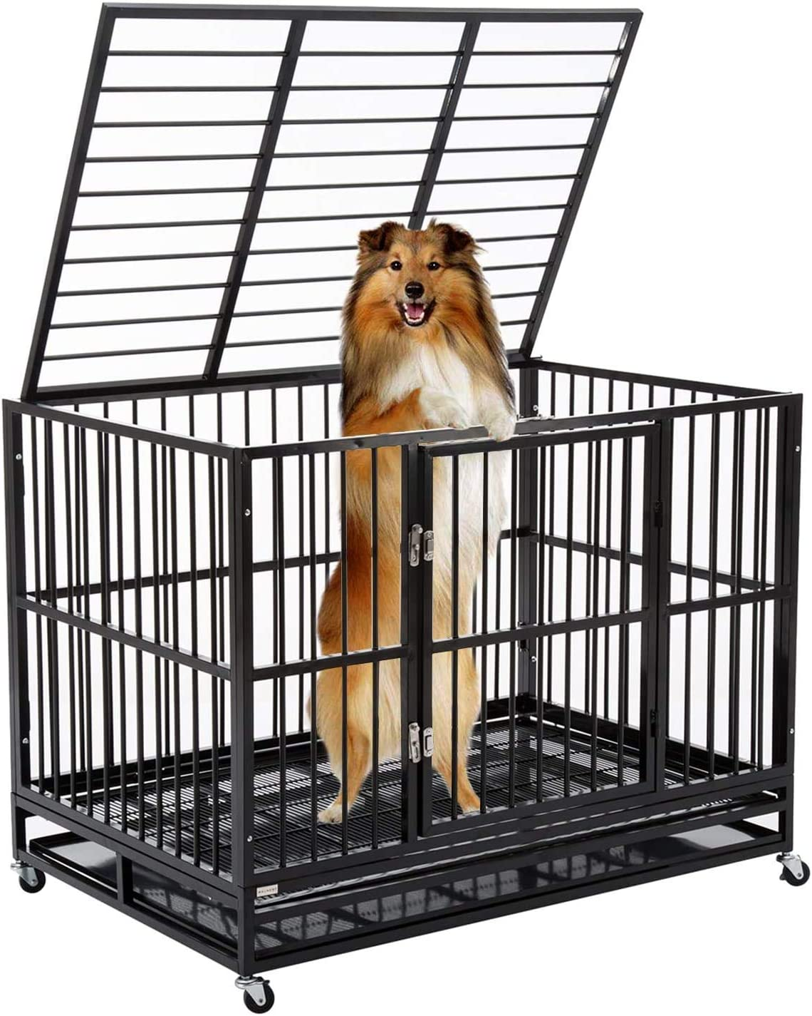 walnest Large Dog Crate Cage Kennel Playpen Heavy Duty Strong Metal Double Door
