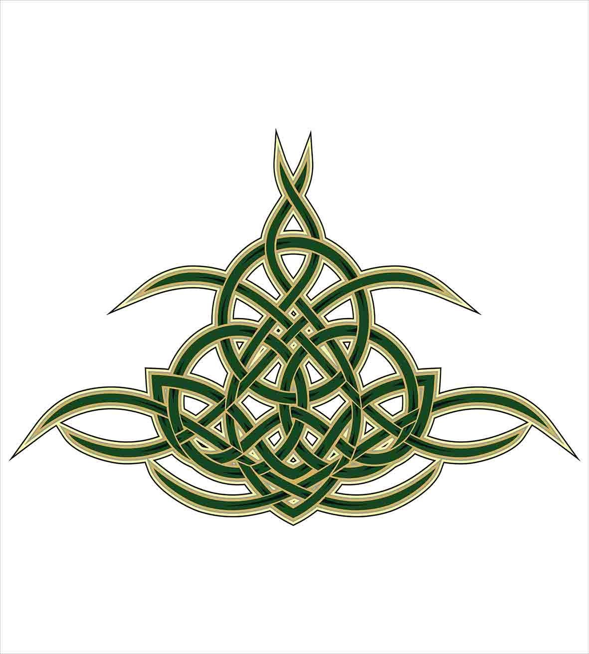 Celtic Juego de funda nórdica por Ambesonne, Original celta escudo icono gótico diseño abstracto Escocia Medieval estilo Art, decorativo juego de cama con ...