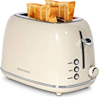 REDMOND 2 Slice Toaster Retro Stainless Steel Toaster with Bagel, Cancel, Defrost Function and 6 Bread Shade Settings…