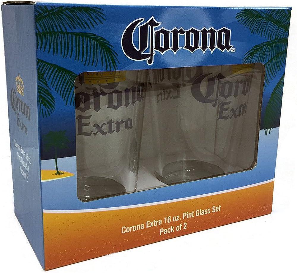 Corona Extra - Vaso de cerveza (2 unidades, 16 oz), transparente