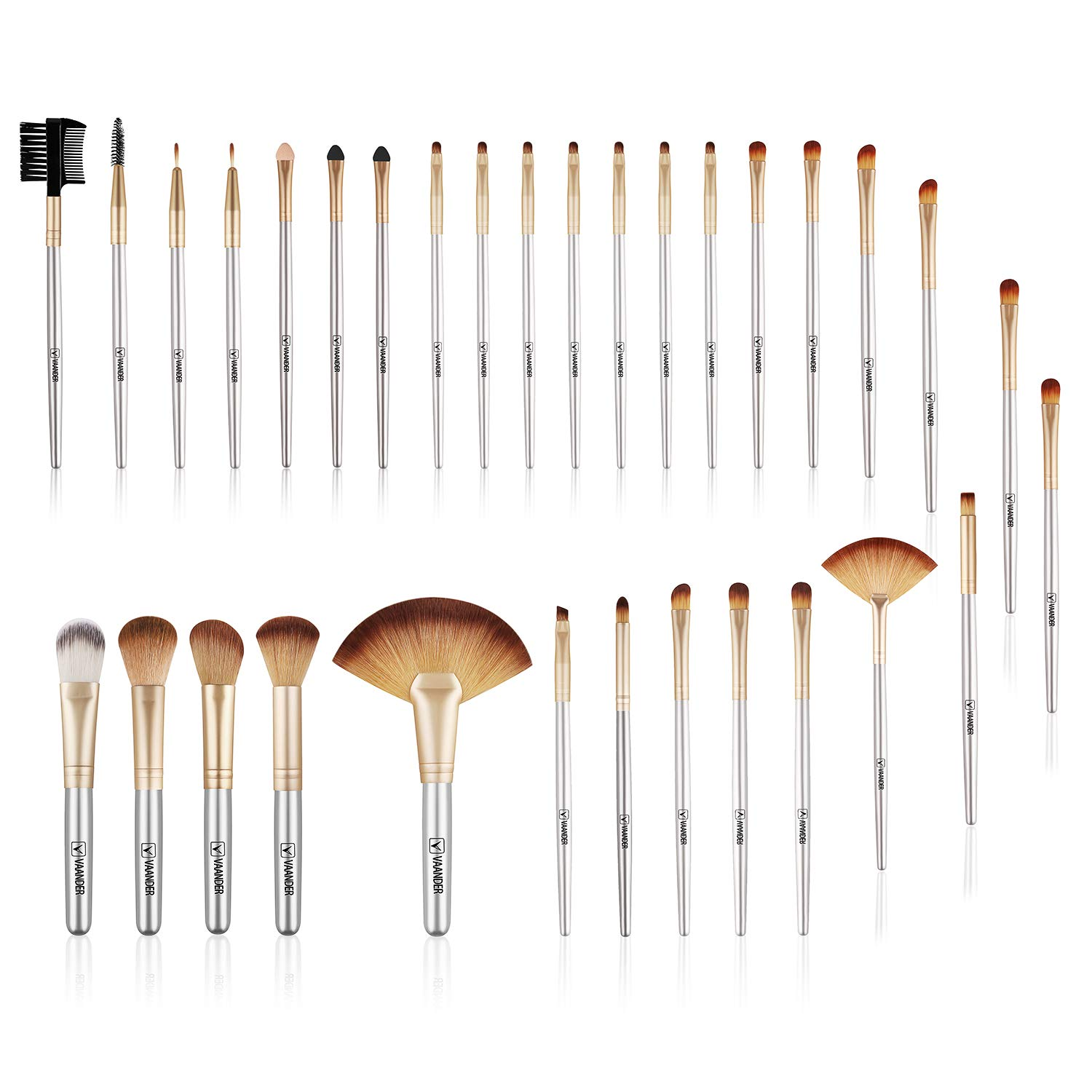 Make up Brushes, VANDER LIFE 32pcs Premium Cosmetic Makeup Brush Set for Foundation Blending Blush Concealer Eye Shadow, Cruelty-Free Synthetic Fiber Bristles, Travel Makeup bag Included, Champagne