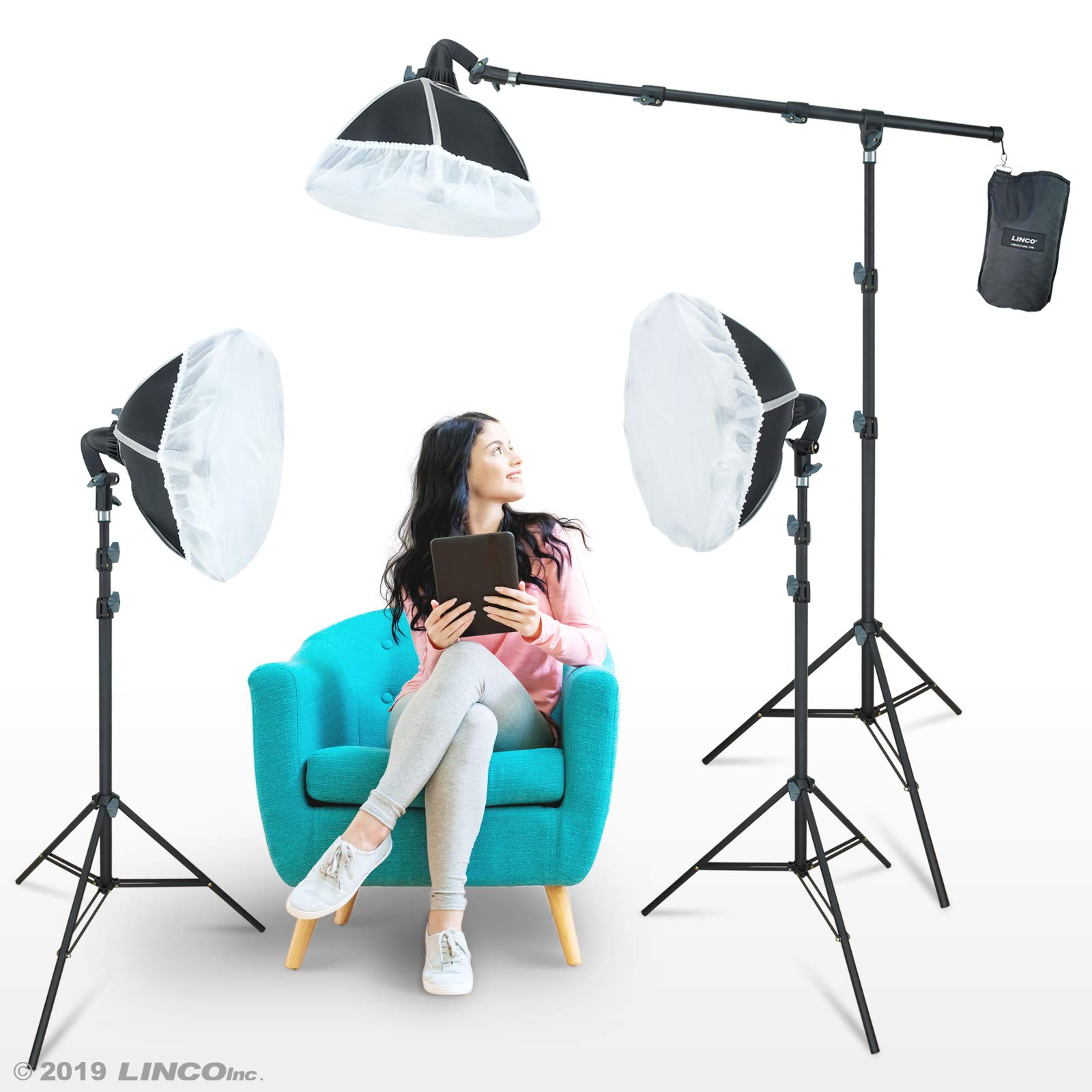 LINCO Lincostore Photography Studio Lighting Kit Arm for Video Continuous Lighting Shadow Boom Box Lights Set Headlight Softbox Setup with Daylight Bulbs 2400 Lumens AM261 by Linco (Image #8)