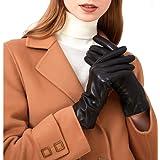 ZLUXURQ Luxury Italian Soft Leather Gloves for Women - Genuine SheepSkin Leather Women's Cold Weather Gloves Cashmere…