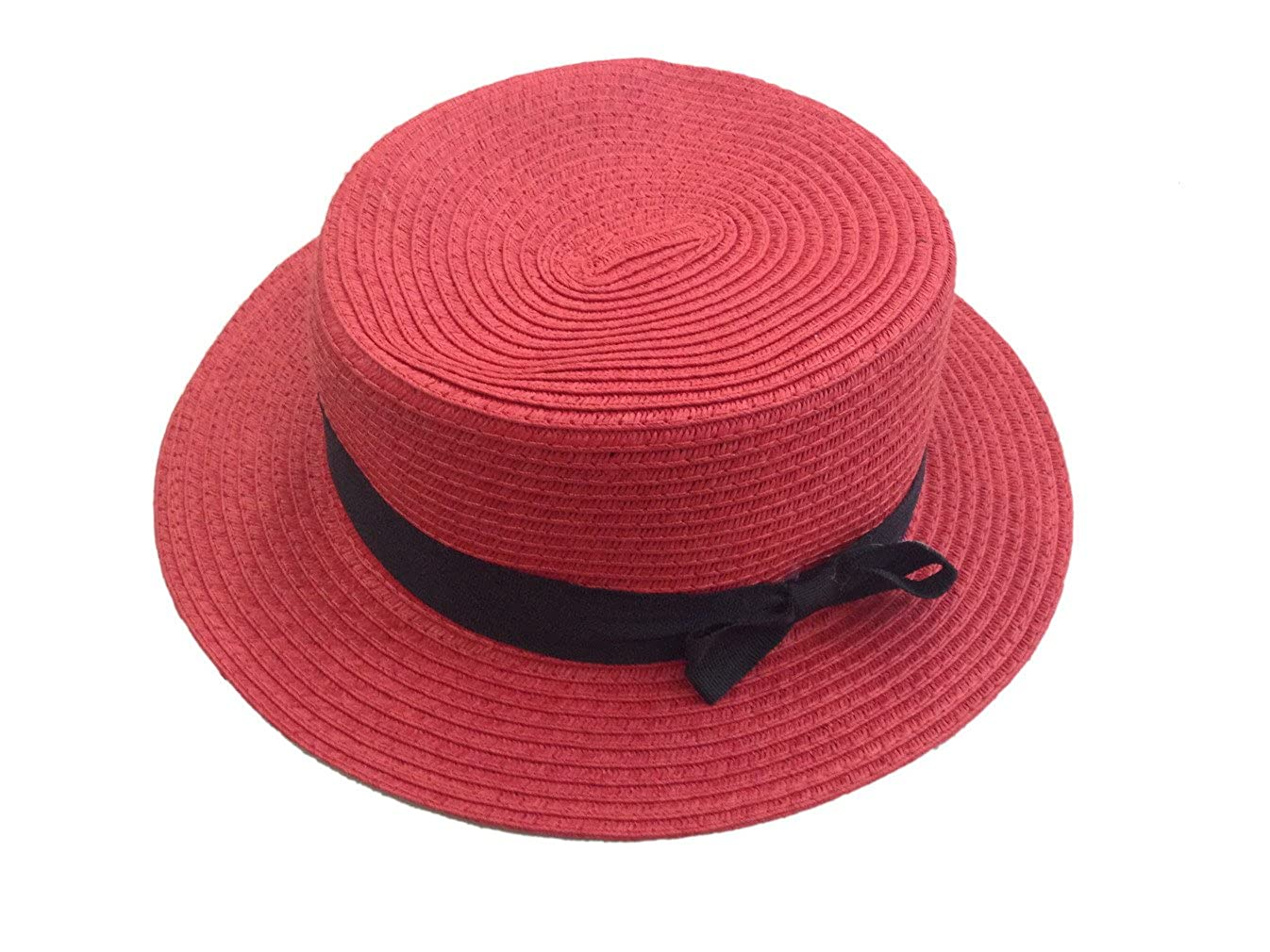JTC Flat Straw Sun Hat Short Brim Cap Bucket Bow Visor Photography Prop Outfit