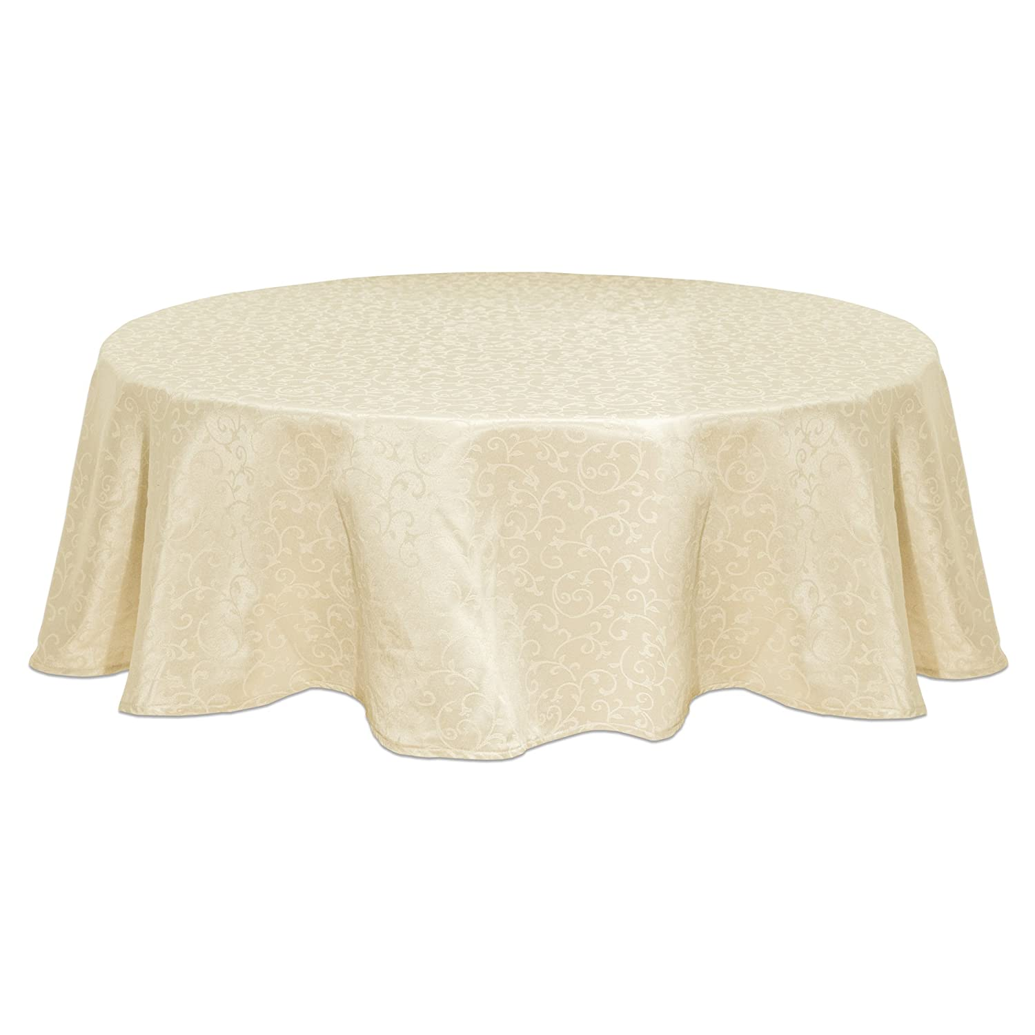 Amazon.com: Lenox Opal Innocence 90 Inch Round Tablecloth, Ivory: Home U0026  Kitchen
