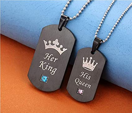 627c865b6ff Amazon.com: King & Queen Lovers Couple Necklaces Matching Set Black ...