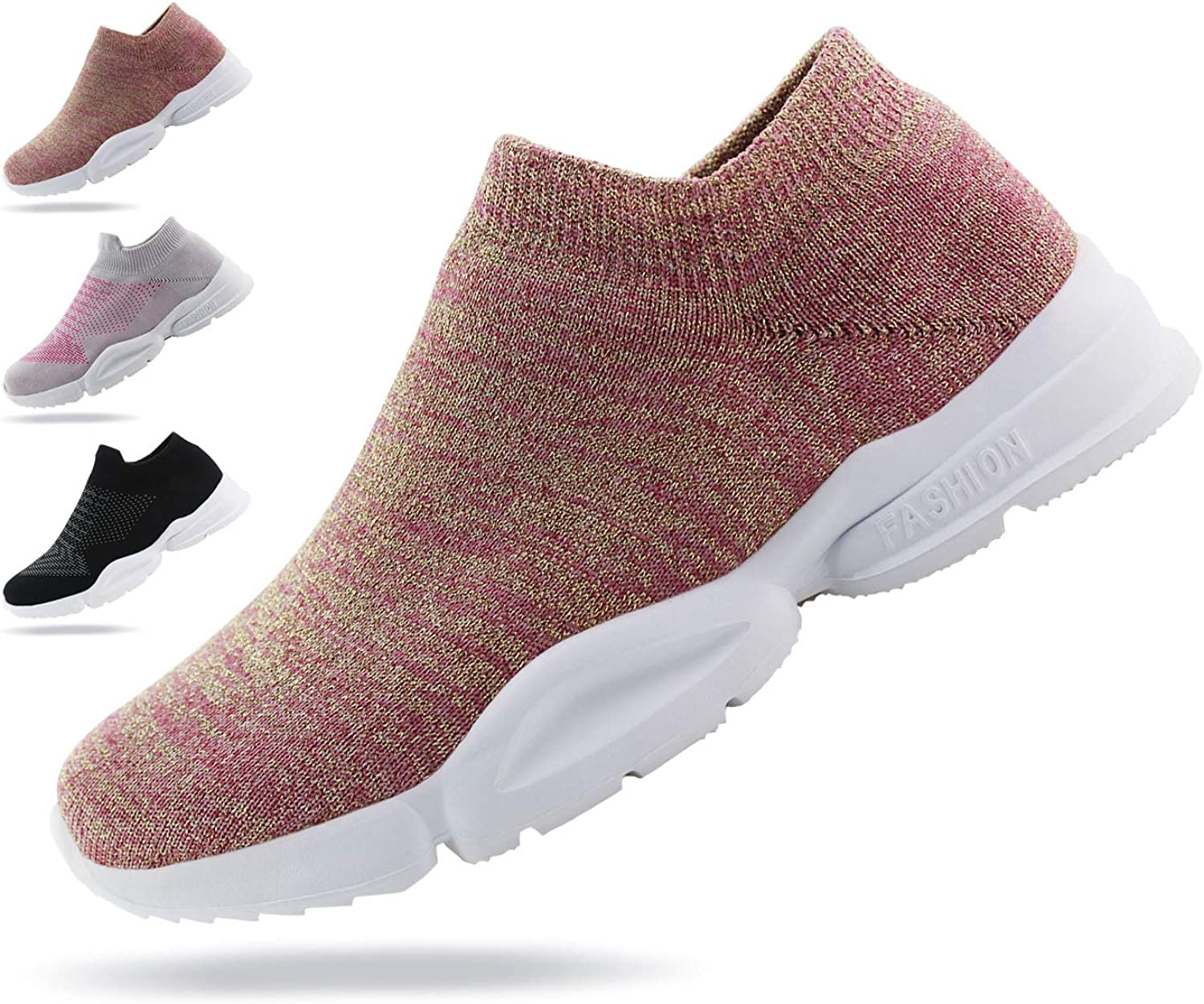 JABASIC Women Breathable Athletic Knit Shoes Casual Slip On Walking Sneakers