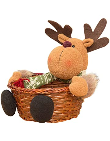 Lomire Cesta De Almacenaje para Navidad, Almacenamiento Cesta De Caramelo De Bambú Cestas De Chocolate