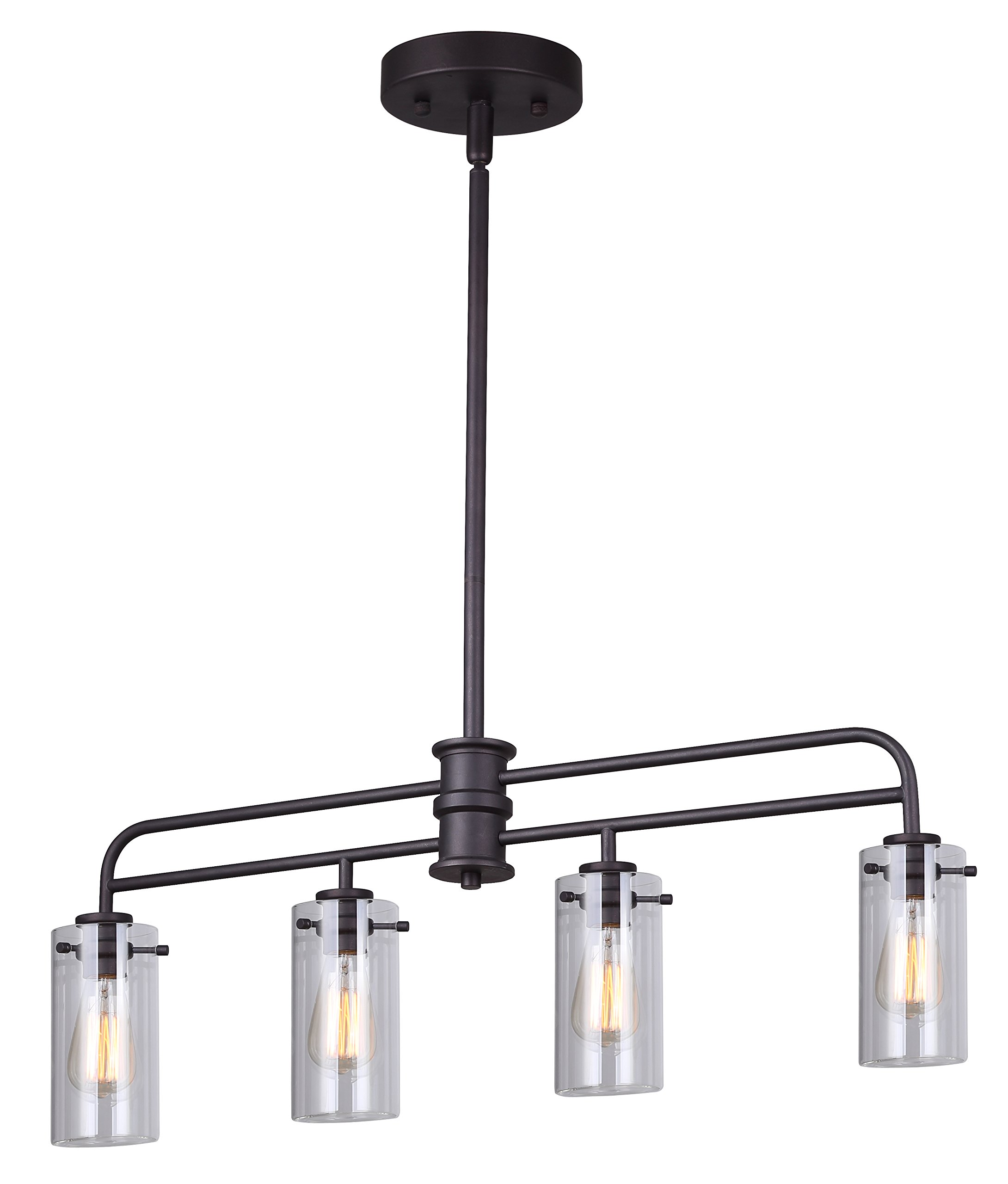 Canarm Albany 4 Light Rod Pendant with Clear Glass - Oil Rubbed Bronze Finish by Canarm