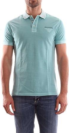 Armani Jeans Hombres Polo de piqué lavado L Verde: Amazon.es ...